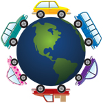 Cars Driving around the world